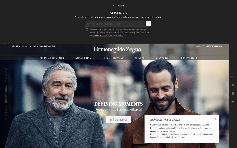 Schermata https://www.zegna.it/it-it/home.html