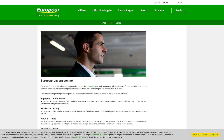 Schermata https://www.europcar.it/