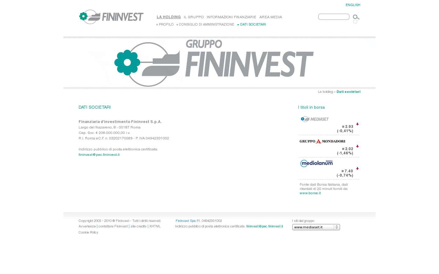 Schermata http://www.fininvest.it/