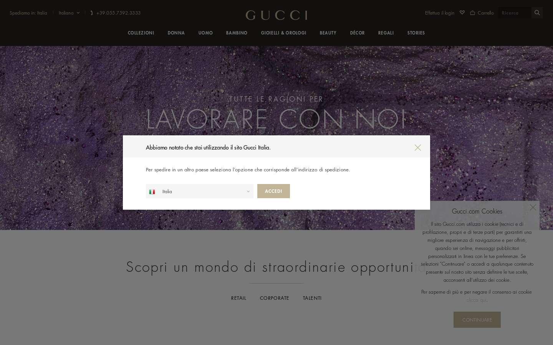 Schermata https://www.gucci.com/it/it/