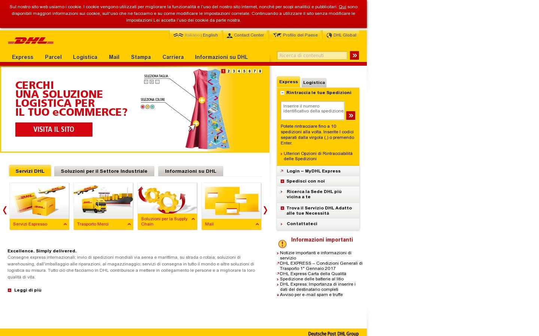 Paginata di http://www.dhl.it/it.html