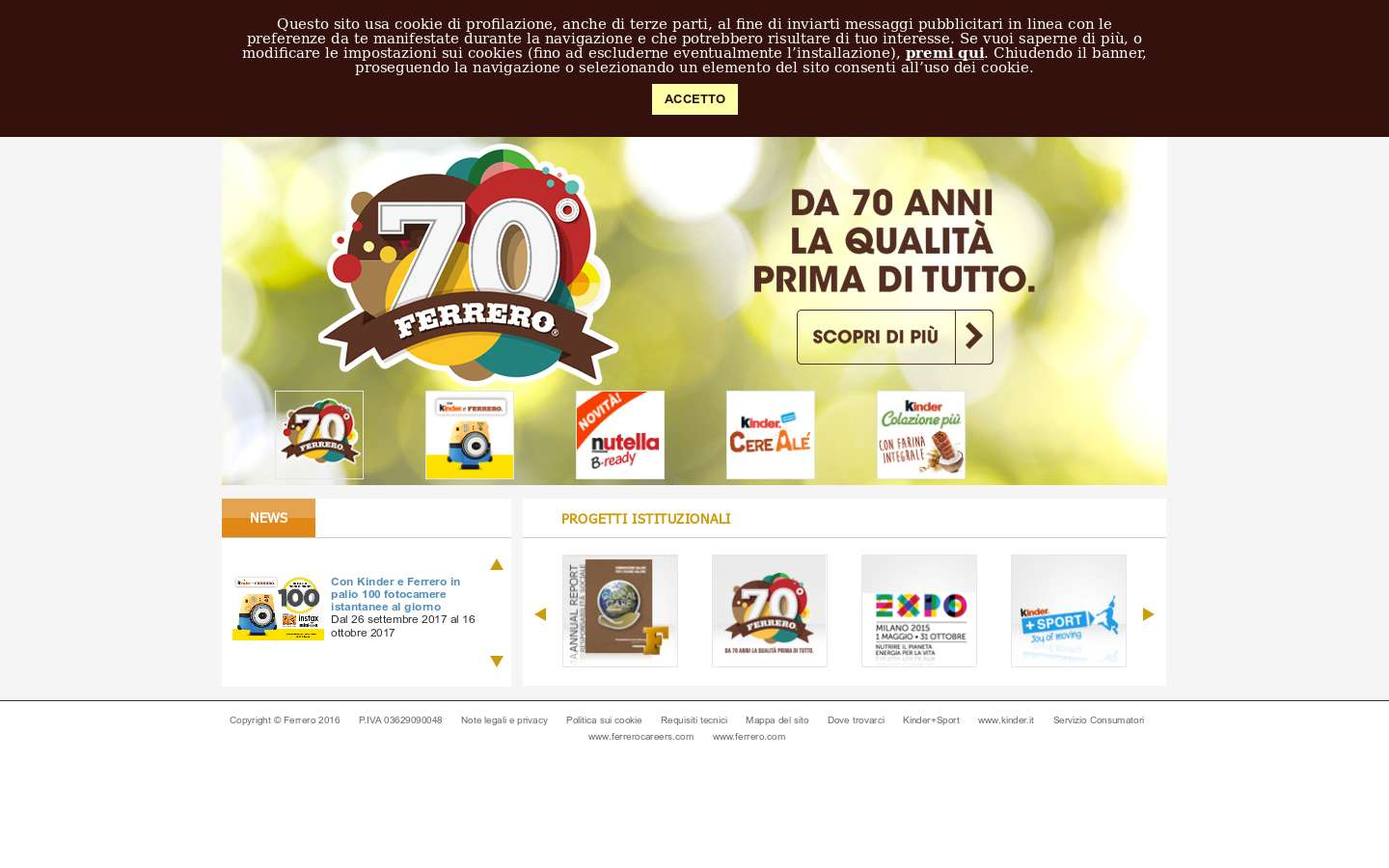 Paginata di https://www.ferrero.it/