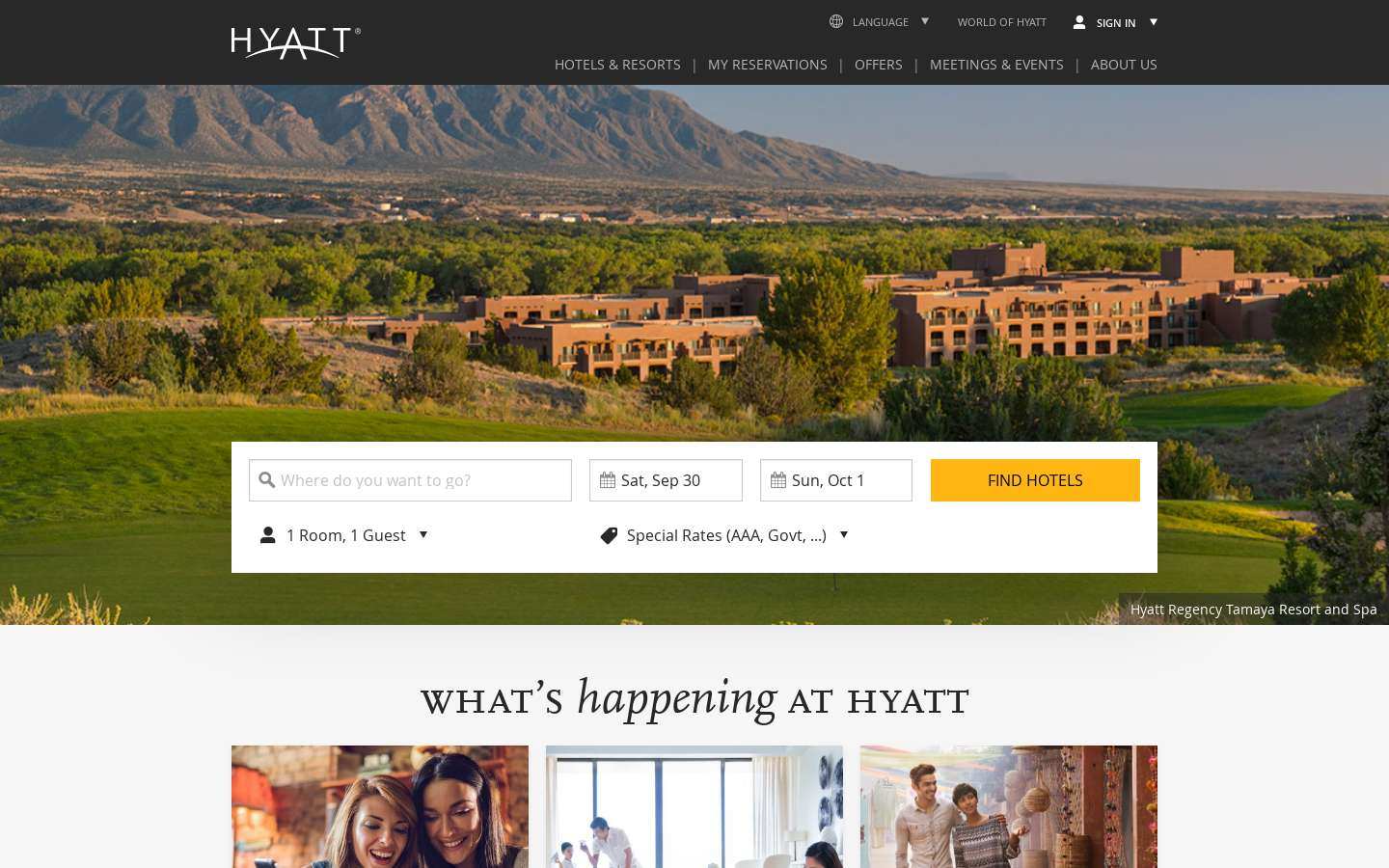 Paginata di https://www.hyatt.com/